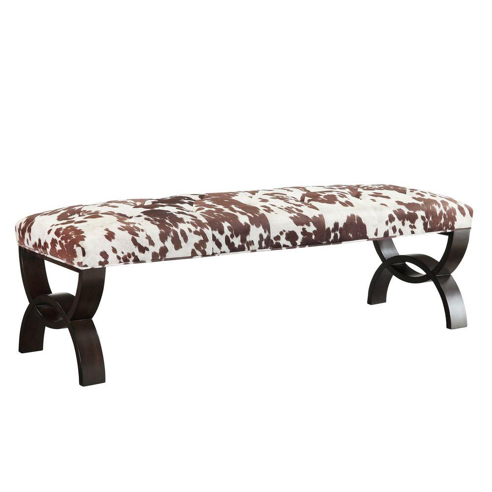 HomeSullivan Columbia Heights Wood and Fabric Bench in Cowhide Print