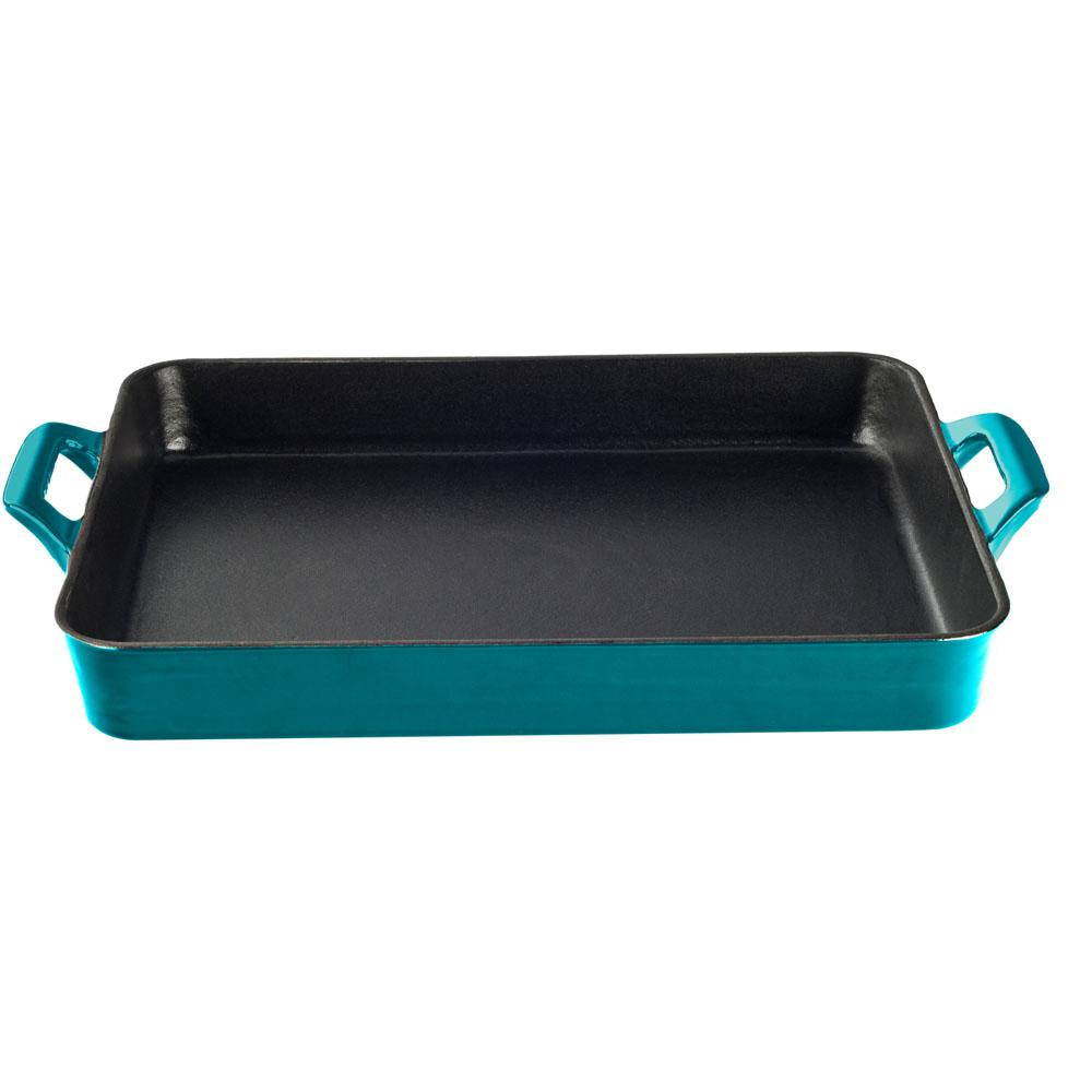 Shallow Cast Iron Roasting Pan with Enamel in High Gloss Teal
