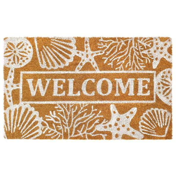White 18 In X 30 In Seashells And Starfish Coir Doormat Dm5347 The Home Depot