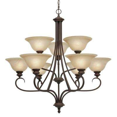 Lancaster Collection 9-Light Rubbed Bronze 2-Tier Chandelier/Lancaster Collection 9-Light Pewter 2-Tier Chandelier