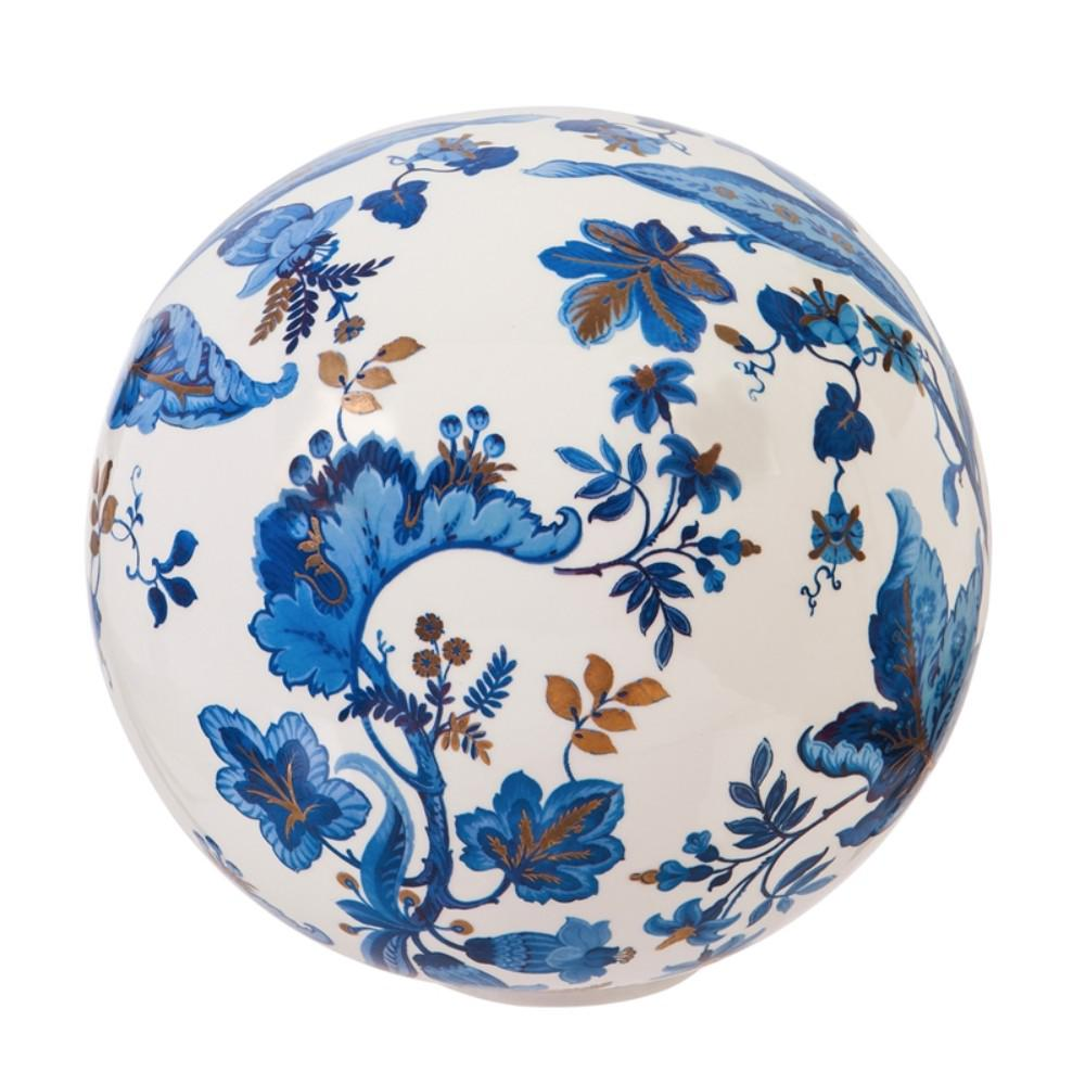 Evergreen Garden Ceramic Blue and White Floral Decorative Orb This gazing ball will look great in your home or garden. Made of ceramic, it is safe for indoor or outdoor use. Approximately 10 in. Dia.