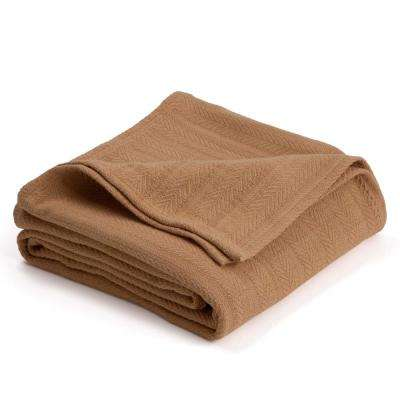 Woven Tan Cotton King Blanket