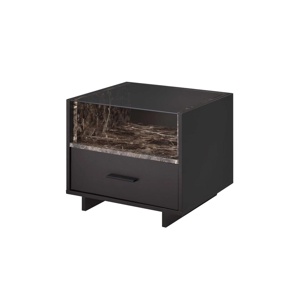 Acme Furniture Dayle Espresso And Faux Marble Nightstand 84621 The Home Depot