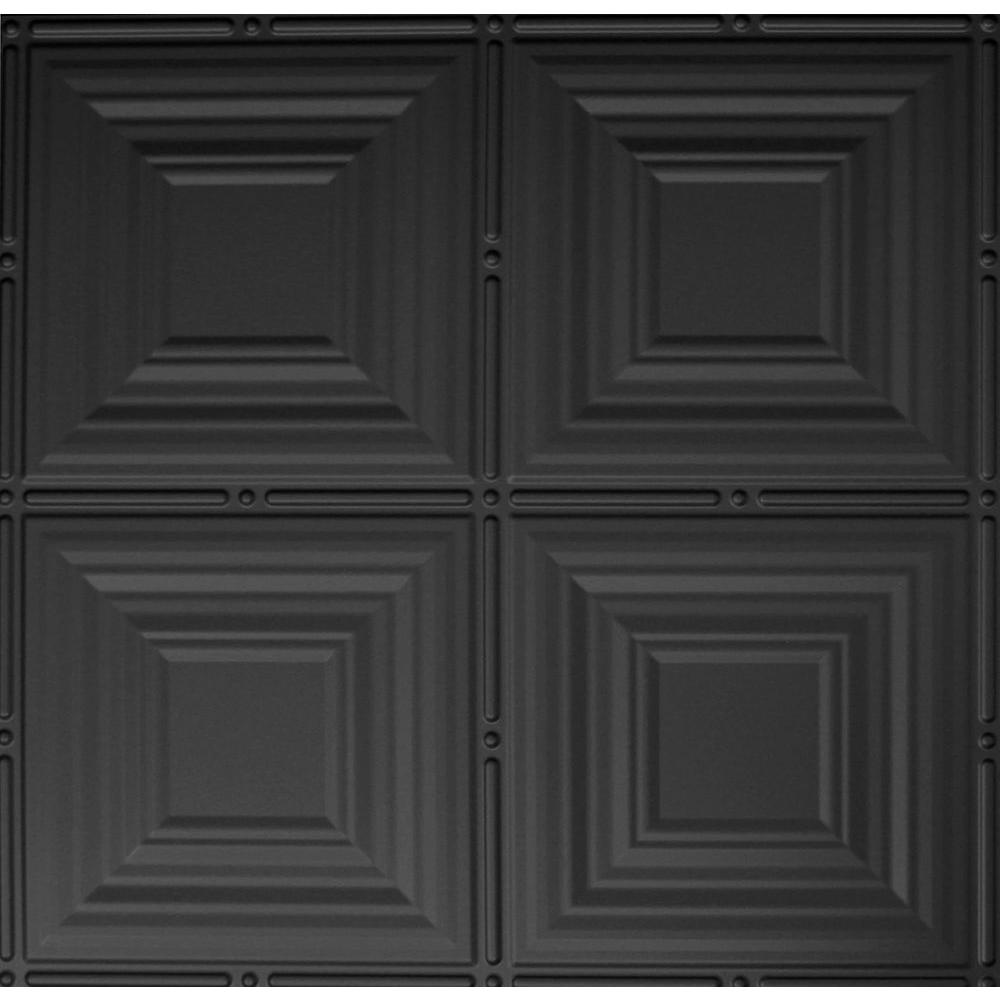 Global specialty products dimensions 2 ft x 2 ft matte black tin lay in ceiling tile in matte dailygadgetfo Choice Image