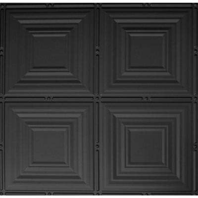 Dimensions 2 ft. x 2 ft. Matte Black Lay-Tin Ceiling Tile for T-Grid Systems