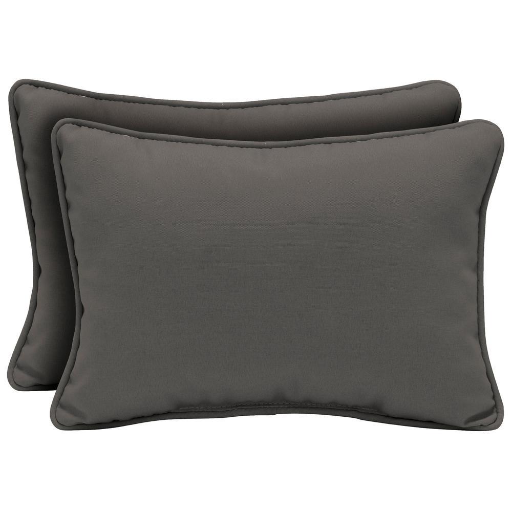 Arden Selections 22 x 15 Slate Canvas Texture Oversized Lumbar Outdoor Throw Pillow (2-Pack)