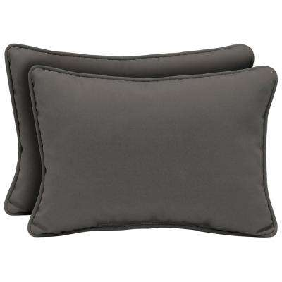 Slate Canvas Texture Oversized Lumbar Outdoor Throw Pillow (2-Pack)