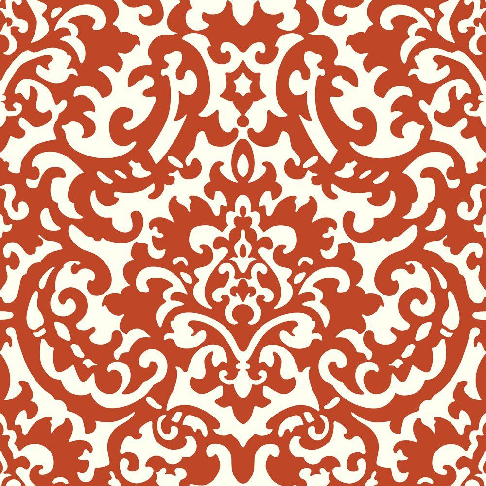 The Wallpaper Company 8 in. x 10 in. Yin Yang Damask Red Wallpaper Sample