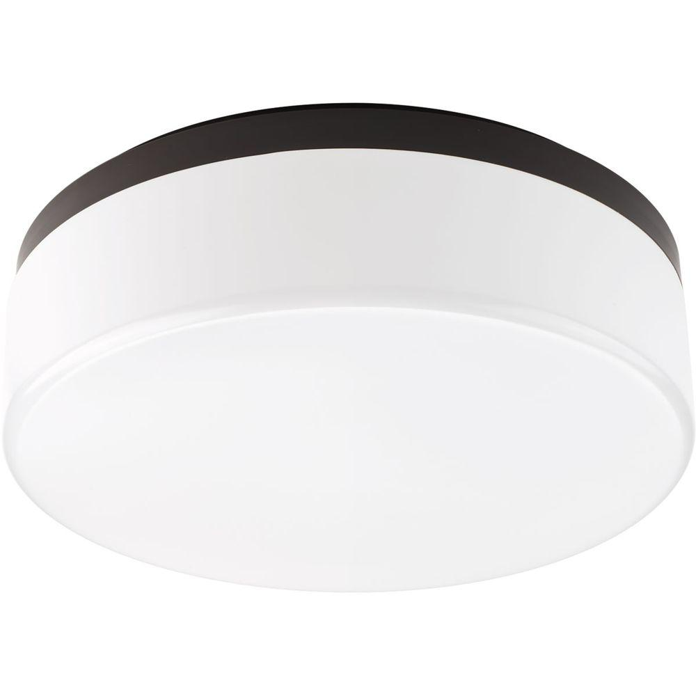14 in. Maier Collection 2-Light Antique Bronze Integrated LED Flushmount