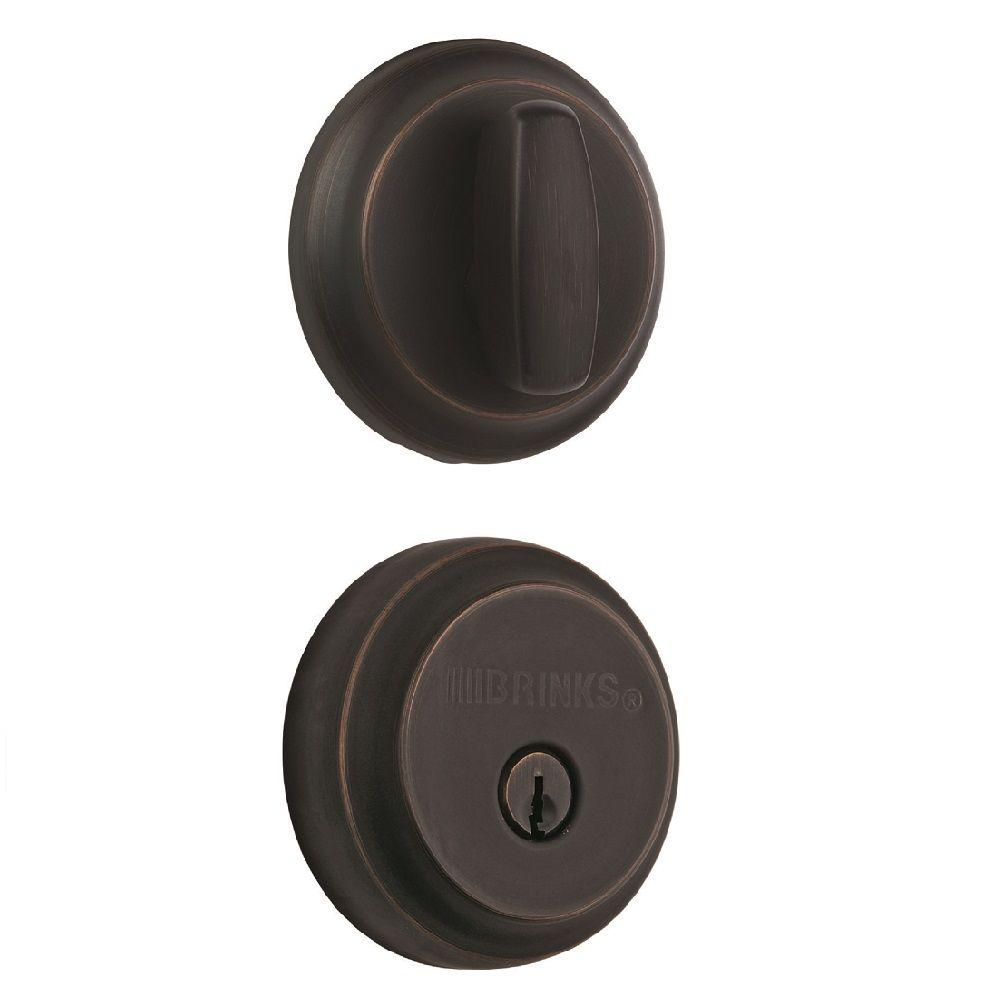 Brinks Home Security Almarrion Single Cylinder Tuscan Bronze Push Pull Rotate Deadbolt