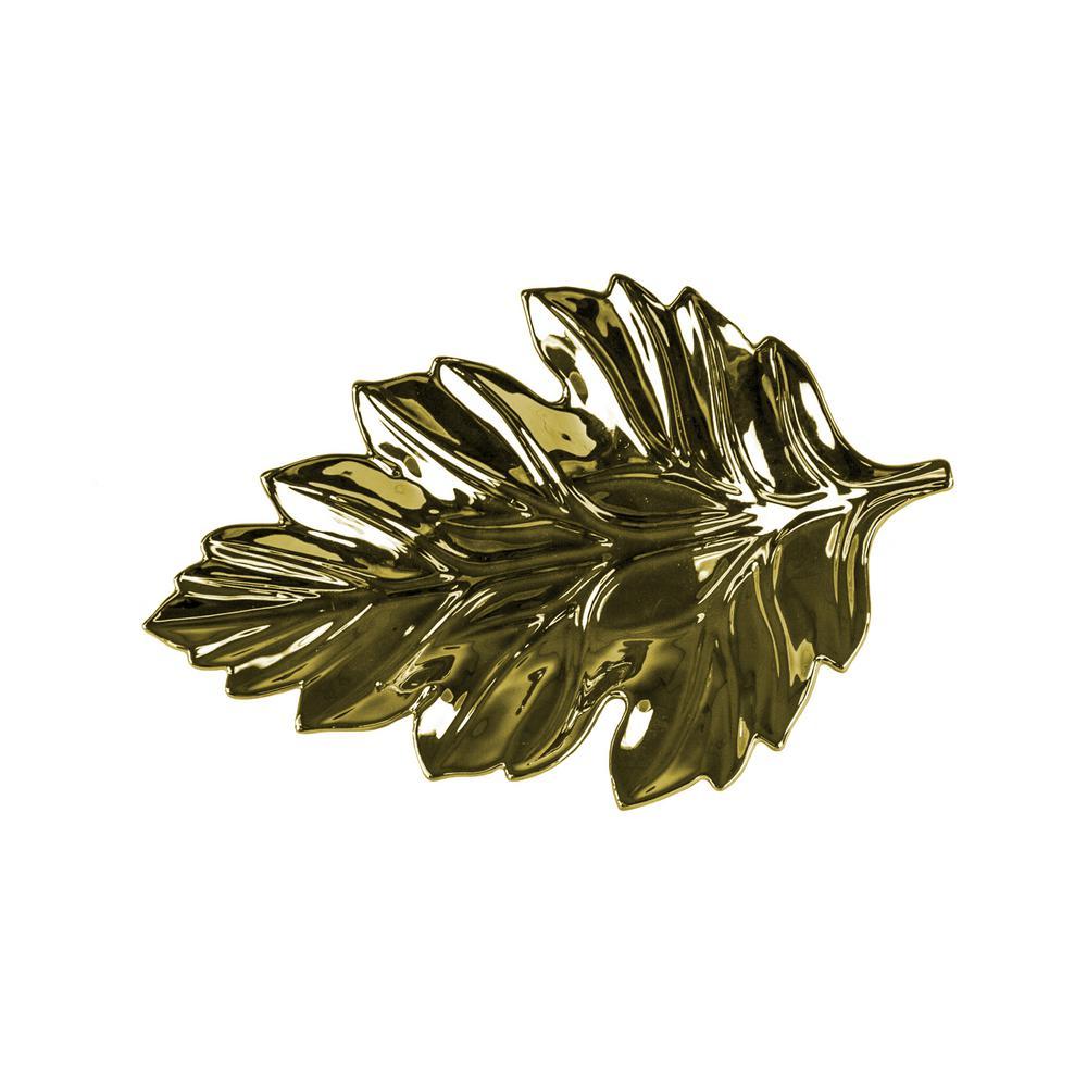 Gold Oak Ceramic Leaf Tray