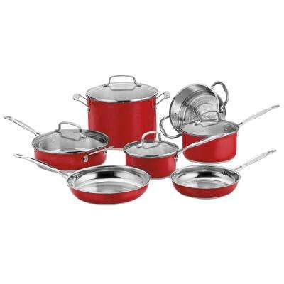 Chef's Classic 11-Piece Red Cookware Set with Lids