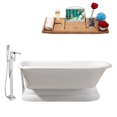 Tub, Faucet and Tray Set 66 in. Cast Iron Flatbottom Non-Whirlpool Bathtub in Glossy White