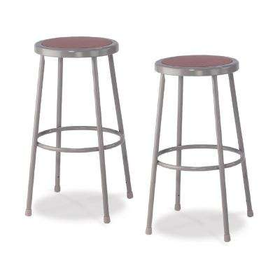 30 in. Grey Heavy-Duty Steel Stool (2-Pack)