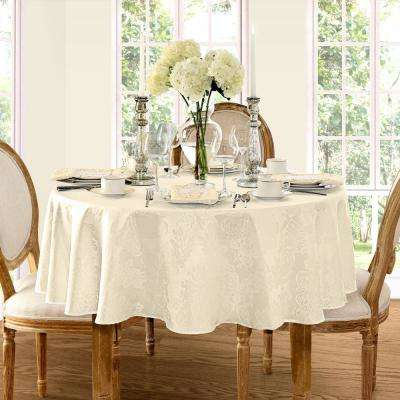 70 in. Round Antique Elrene Barcelona Damask Fabric Tablecloth