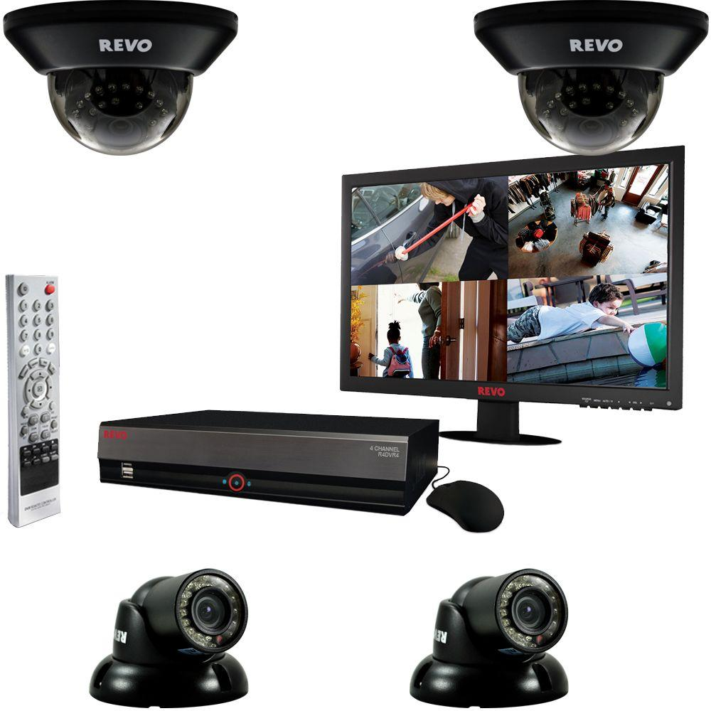 Revo 4-Channel 1TB DVR Surveillance System with (4) 700TVL 100 ft. Night Vision Cameras and 18.5 in. Monitor