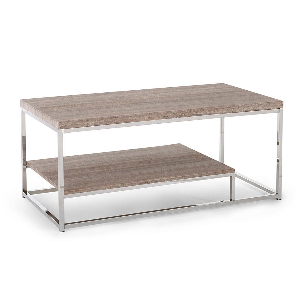 Lucia Brown Cocktail Table with Chrome Base