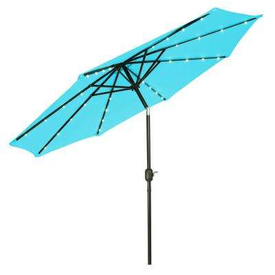 9 ft. Deluxe Solar Powered Led Lighted Patio Umbrella in Teal