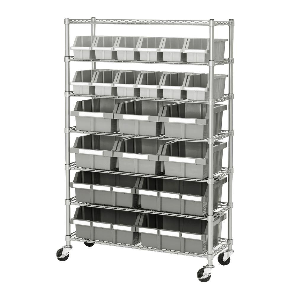 Industrial Kitchen Shelving: Seville Classics 7-Shelf Commercial Bin Rack System