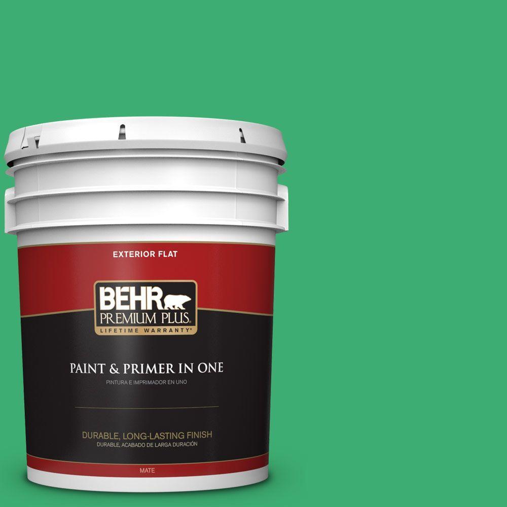 BEHR Premium Plus 5-gal. #460B-5 Fresh Greens Flat Exterior Paint