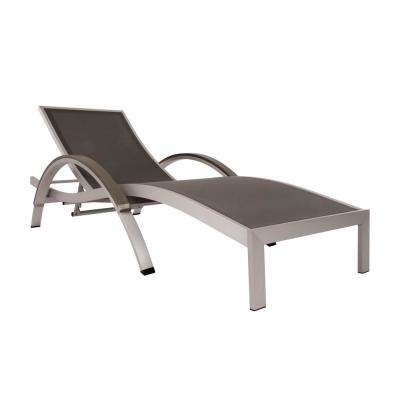 Brushed Aluminum Sling Outdoor Chaise Lounge in Gray