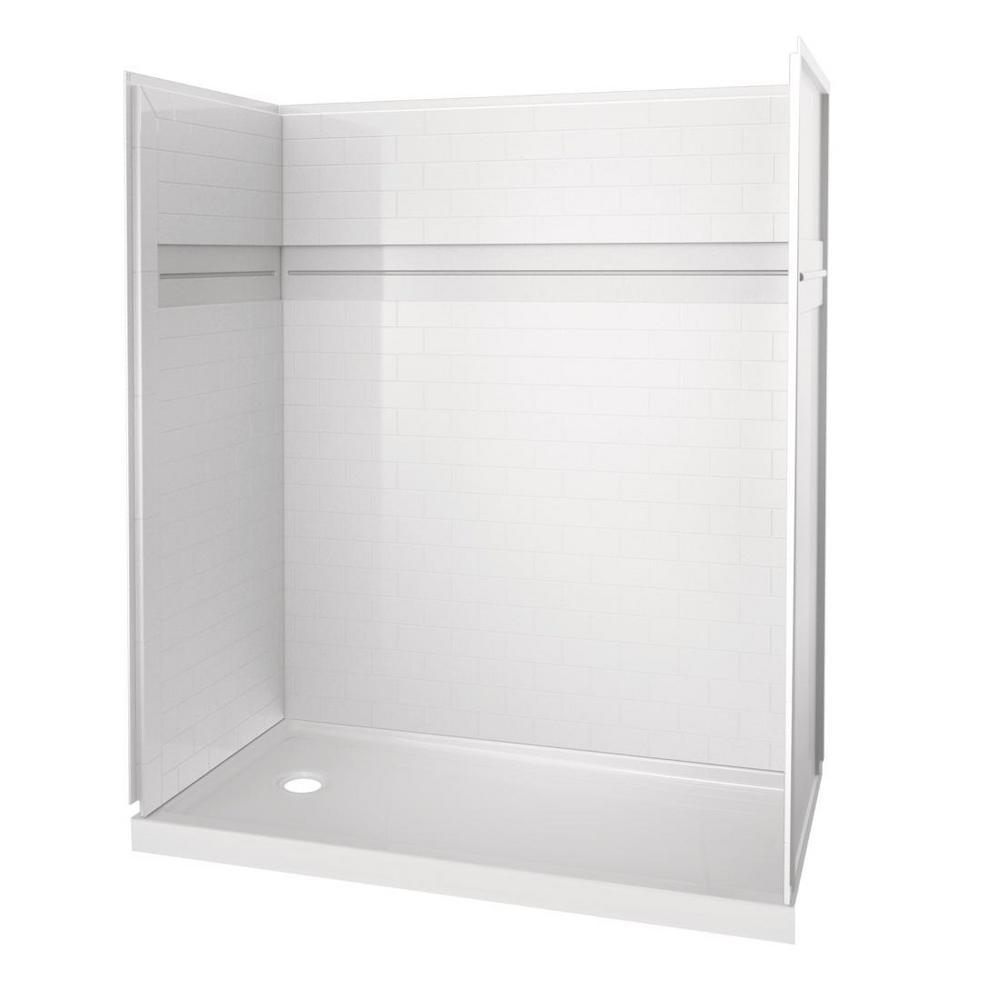 UPstile 32 in. x 60 in. x 74 in. Shower Kit in White