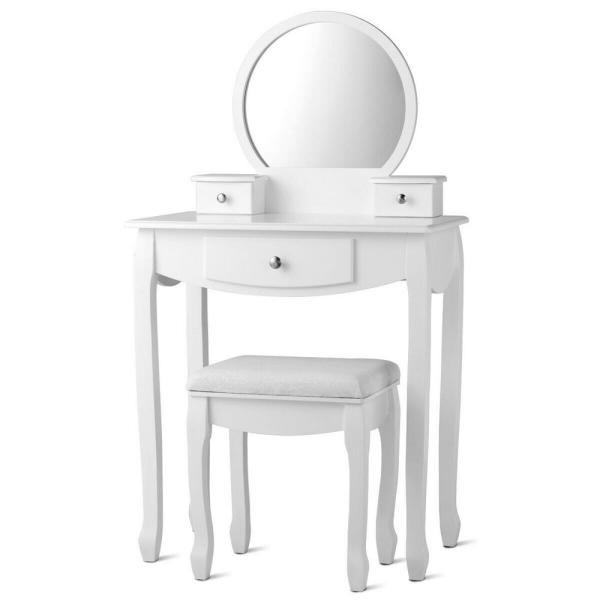 White Vanity Set with Oval Mirror