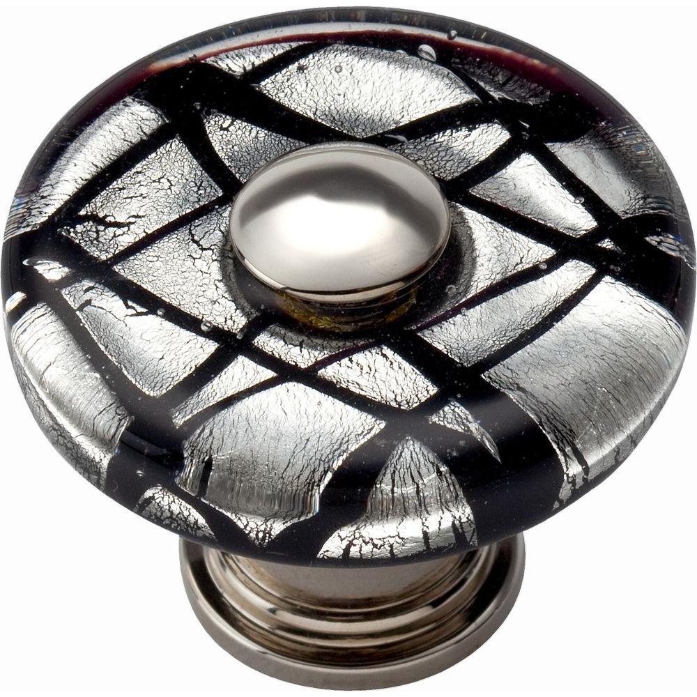 Atlas Homewares Glass Collection 1-1/2 in. Matte Black/Eclipse Round Cabinet Knob