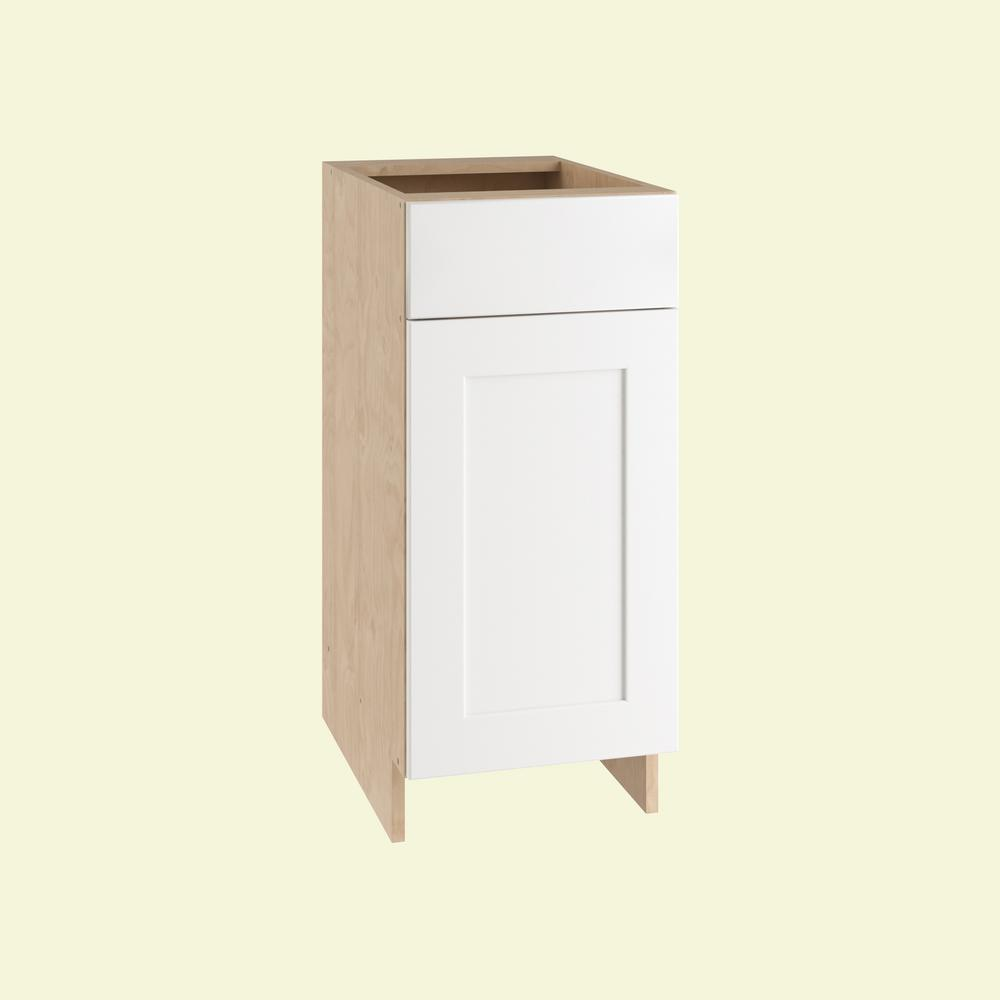 Home Decorators Collection 18x34.5x24 in. Elice Base Cabinet with 1 Wire Pullout Tray 1 Soft Close Door and 1 Soft Close Drawer in Polar White