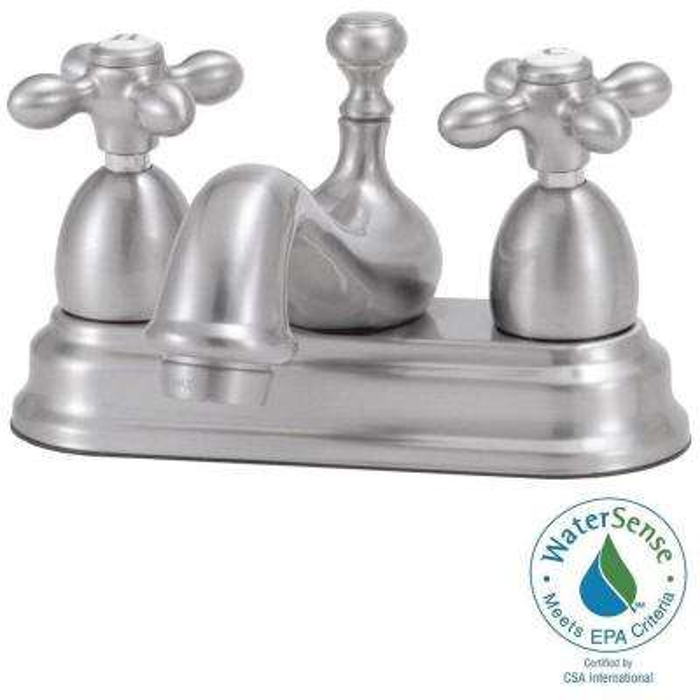Bradsford 4 in. 2-Handle Bathroom Faucet in Satin Nickel with Metal Cross Handle