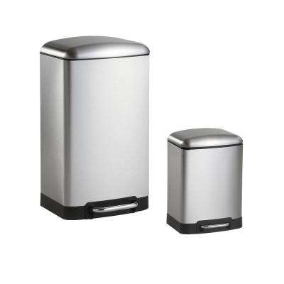 Ashley 8 Gal. Rectangular Stinless Steel Trash Can with Soft-Close Lid and Mini Trash Can