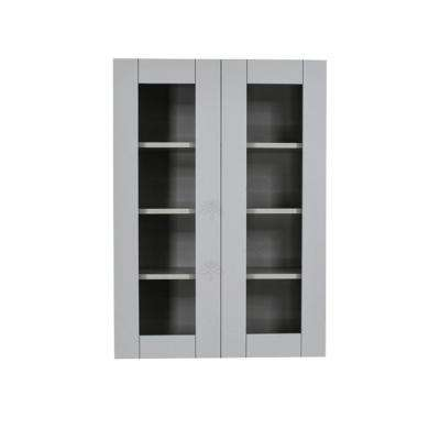 Anchester Assembled 30x42x12 in. Wall Mullion Door Cabinet with 2 Doors 3 Shelves in Light Gray