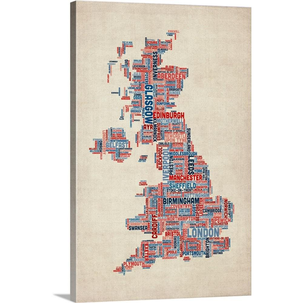 Map Of Uk 1000.United Kingdom Cities Text Map Uk Colors On Parchment By Michael Tompsett Canvas Wall Art