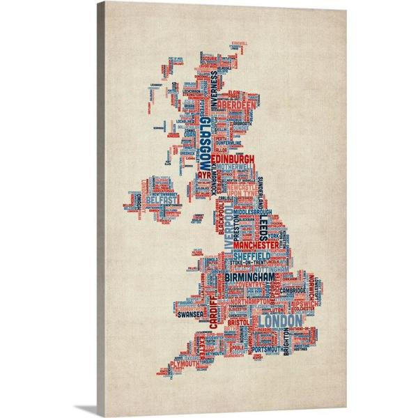 Map Of The Uk Cities.United Kingdom Cities Text Map Uk Colors On Parchment By Michael Tompsett Canvas Wall Art