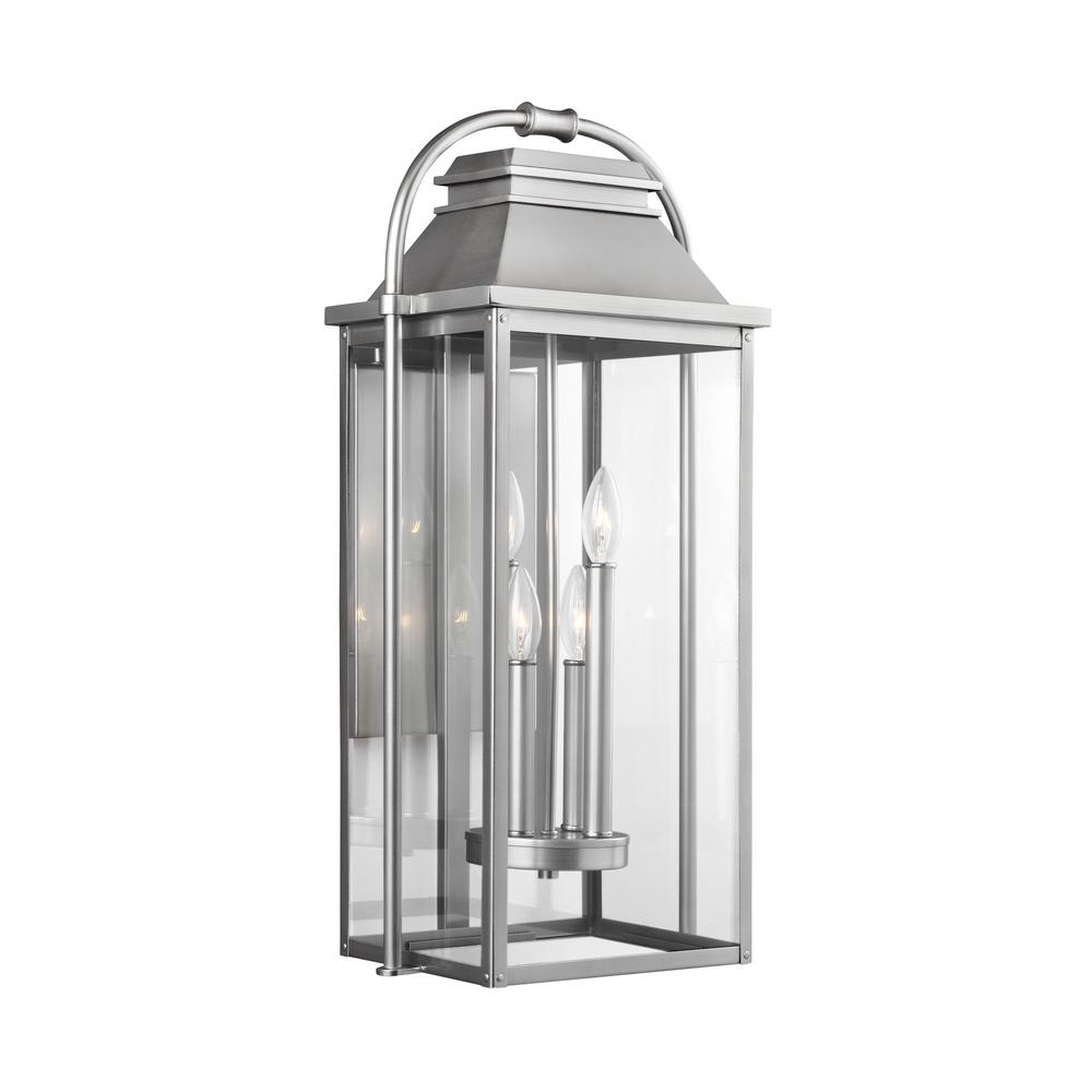 Feiss wellsworth 4 light painted brushed steel outdoor wall lantern ol13202pbs the home depot - Painting exterior metal collection ...