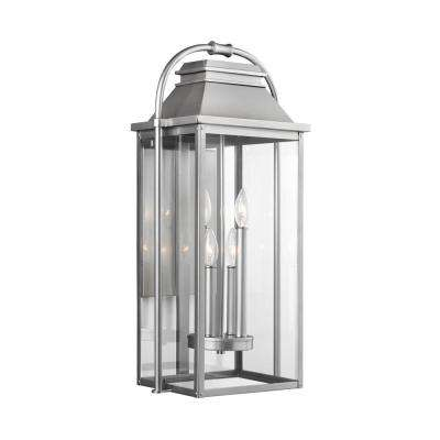 Wellsworth 4-Light Painted Brushed Steel Outdoor 27 in. Wall Lantern Sconce