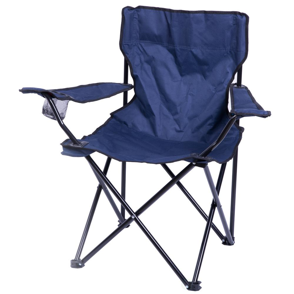 Phenomenal Playberg Portable Folding Outdoor Camping Chair With Can Holder Navy Cjindustries Chair Design For Home Cjindustriesco