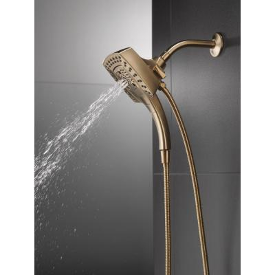 In2ition Two-in-One 5-Spray 5.8 in. Dual Wall Mount Fixed and Handheld Shower Head in Champagne Bronze