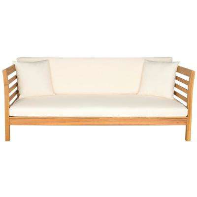Malibu Natural Brown Wood Outdoor Day Bed with Beige Cushions