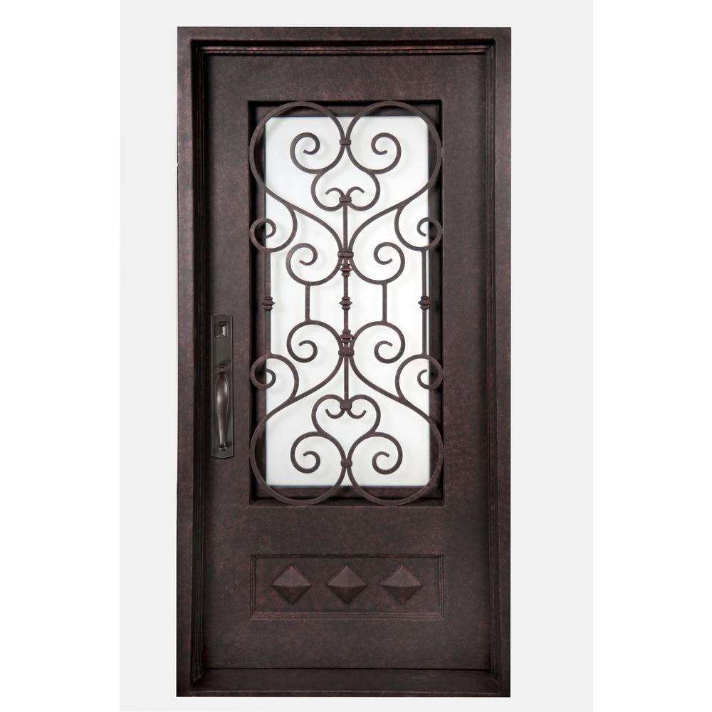 Iron Doors Unlimited 40 in. x 82 in. Vita Francese Classic 3/4 Lite Painted Antique Copper Decorative Wrought Iron Prehung Front Door
