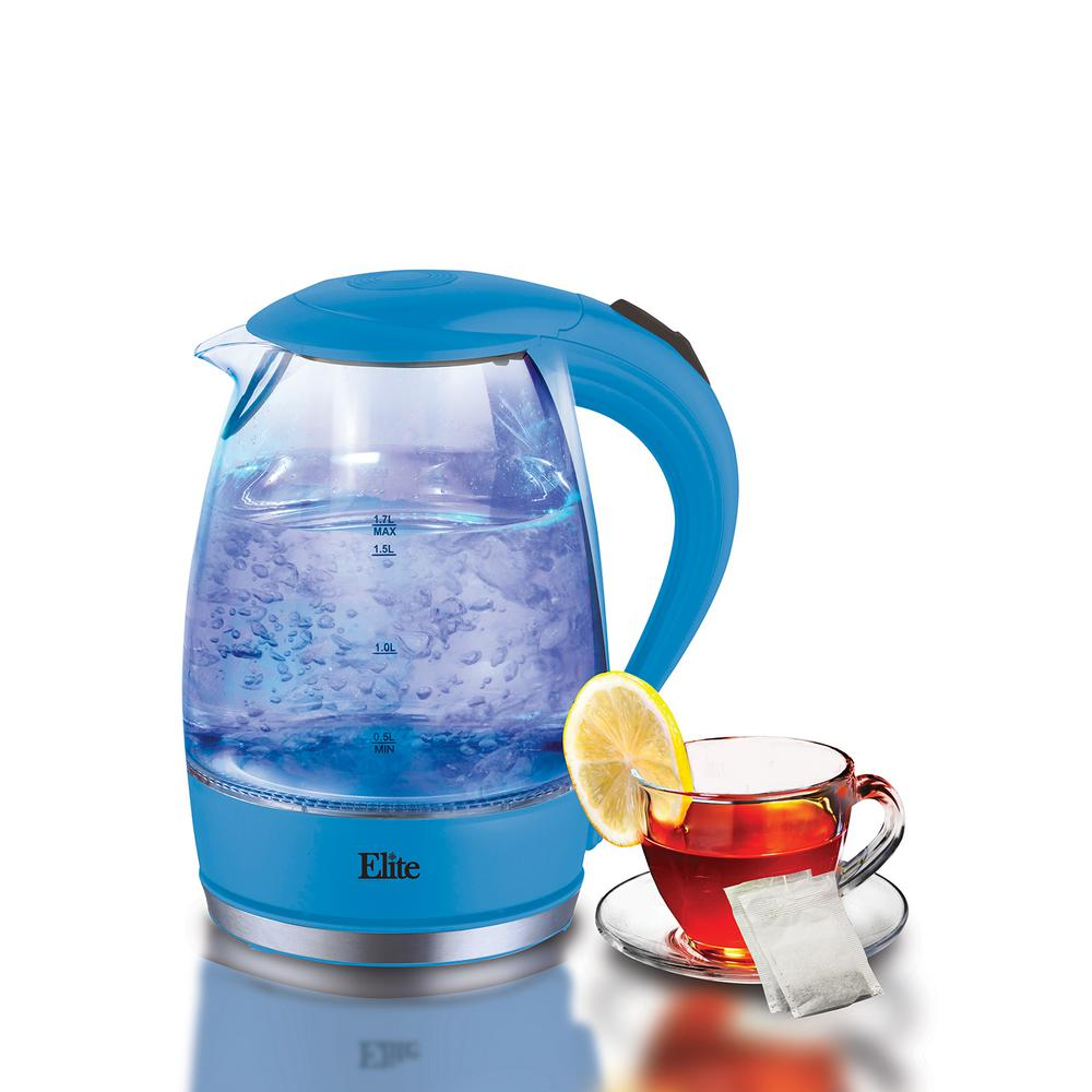 1.7 l Blue Cordless Glass Jar Electric Kettle, Glass/Blue The Elite Platinum Cordless Electric Glass Kettle is the perfect blend of elegance and functionality. Not only is this kettle a beautiful addition to any kitchen countertop, but it also boils water efficiently, saving time and energy over the use of conventional stovetop kettles. Boil water is in less than 5 minutes, faster and easier than a microwave and much safer than the stovetop. Color: Glass/Blue.