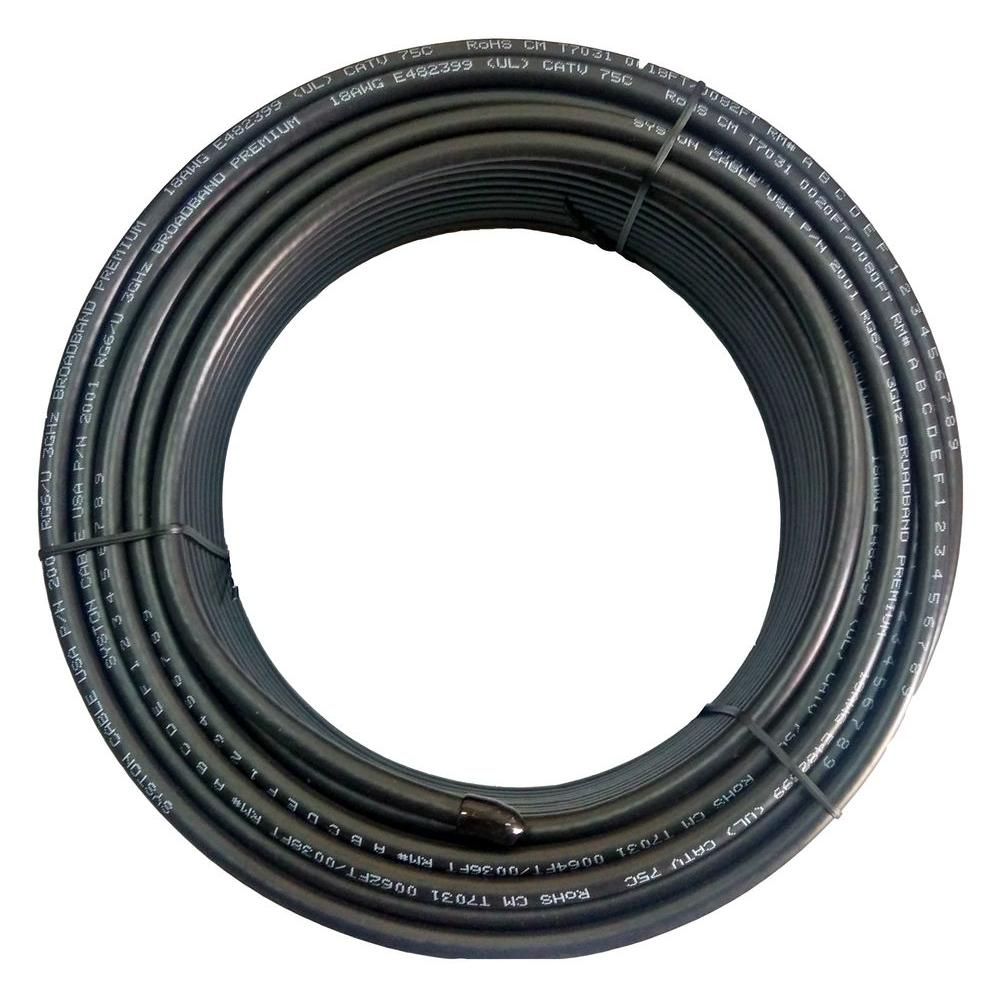 Rg6 Flat Cable Wire : Syston cable technology rg dual shield ft black cm