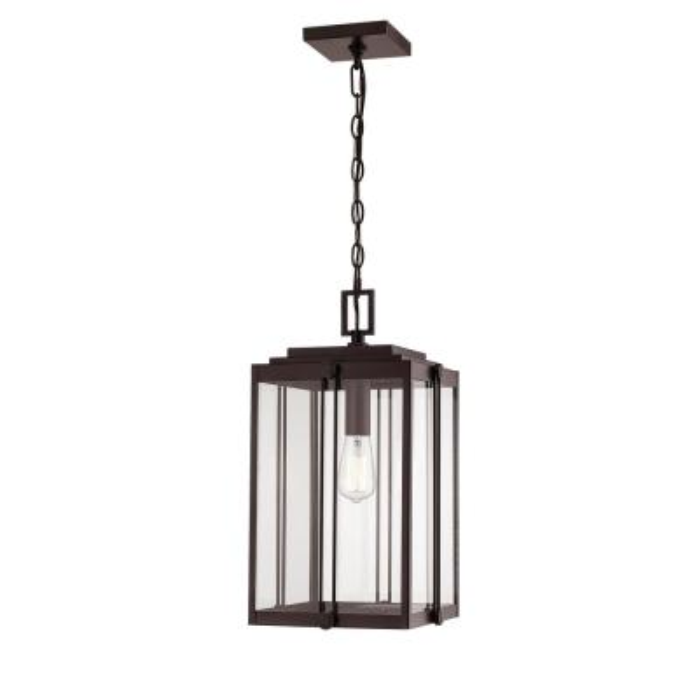 1-Light 12 in. Powder Coat Bronze Outdoor Lantern Pendant