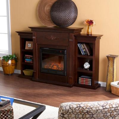 Jackson 70.25 in. Freestanding Electric Fireplace in Classic Espresso with Bookcases