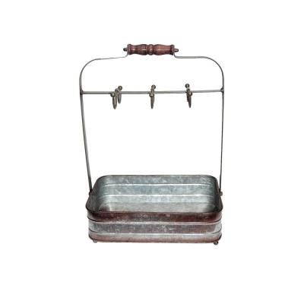 Rustic Style 6-Hooks Galvanized Metal Gray Color Crockery Holder
