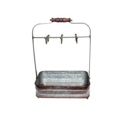 Rustic Style 6-Hooks Galvanized Metal Gray Color Crockery Holder