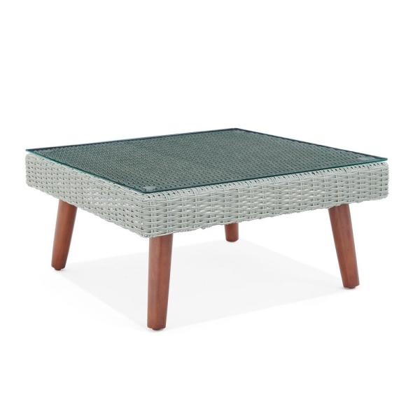Alaterre Furniture Albany Brown Square All Weather Wicker Outdoor Coffee Table With Glass Top Awwd04dd The Home Depot