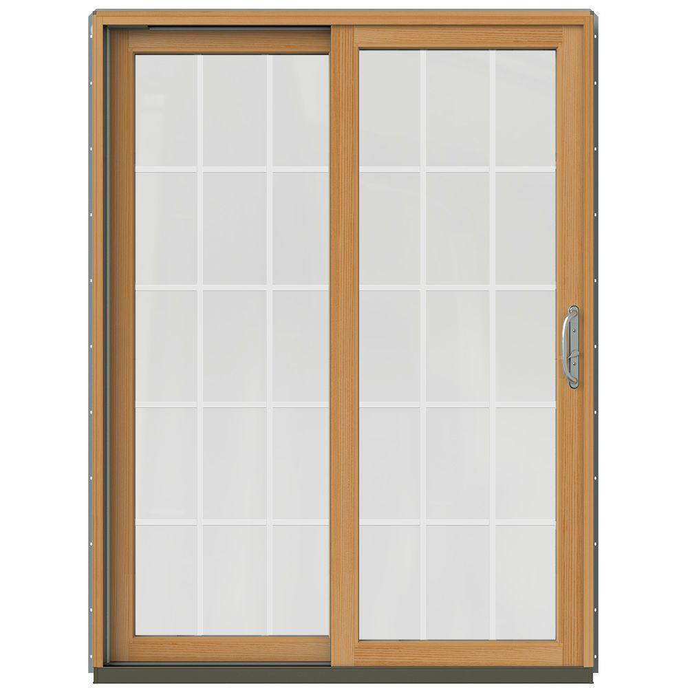 jeld wen 60 in x 80 in w 2500 contemporary silver clad wood left hand 15 lite sliding patio door wstained interior jw2201 01459 the home depot - 60 Sliding Patio Door