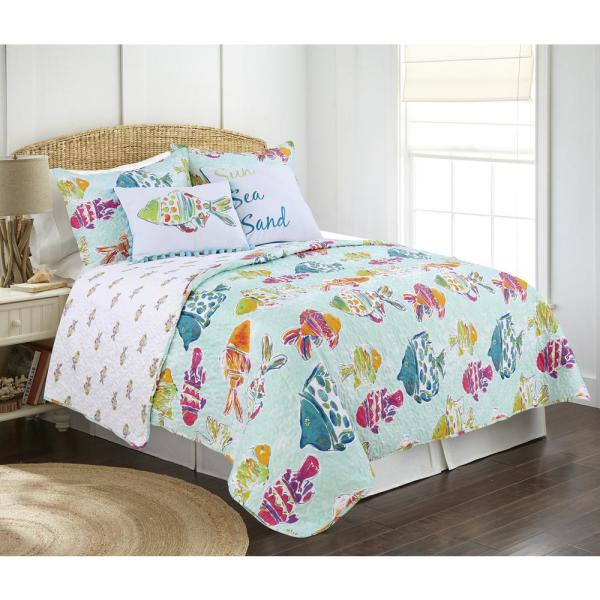 Marlin Fish 3-Piece Blue Multicolored Full/Queen Quilt Set