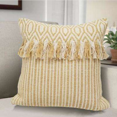 AVANI Woven Decorative Pillow with Geometric Design and Self Fringe